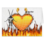 Chromed praying mantis design 3 with fire and web. card