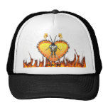 Chromed praying mantis design 3 with fire and web. hats