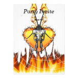 Chromed praying mantis design 3 with fire and web. custom invitations