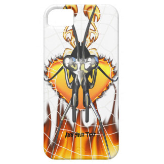 Chromed praying mantis design 3 with fire and web. iPhone 5 case