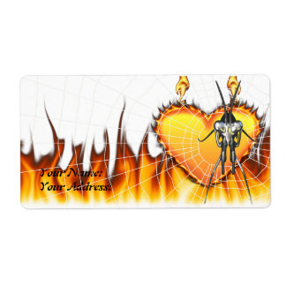 Chromed praying mantis design 3 with fire and web. label