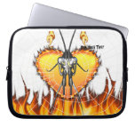 Chromed praying mantis design 3 with fire and web. laptop computer sleeves