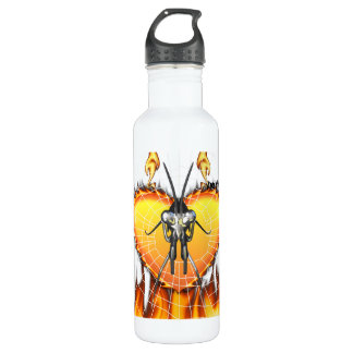 Chromed praying mantis design 3 with fire and web. 24oz water bottle