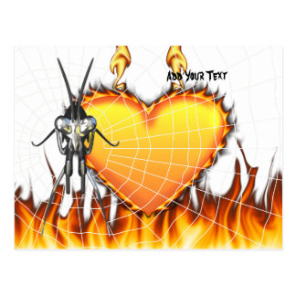Chromed praying mantis design 3 with fire and web. postcard