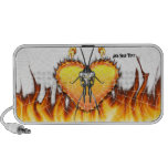 Chromed praying mantis design 3 with fire and web. laptop speakers