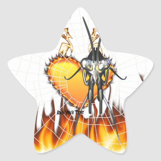 Chromed praying mantis design 3 with fire and web. stickers