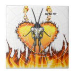 Chromed praying mantis design 3 with fire and web. ceramic tile