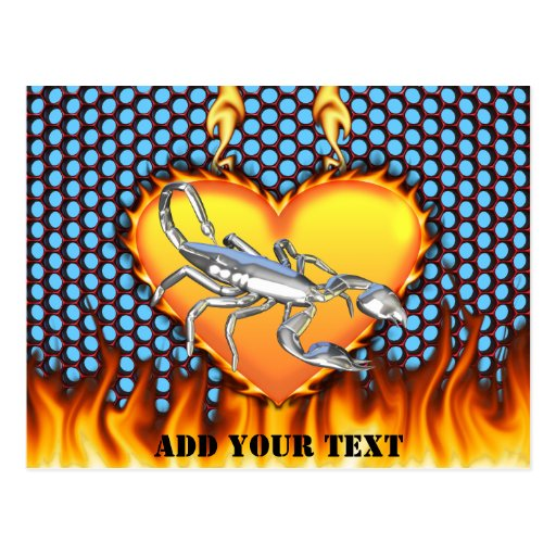 Chromed scorpion design 1 with fire postcard