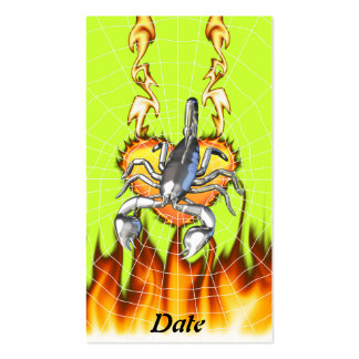 Chromed scorpion design 2 with fire and web. business card