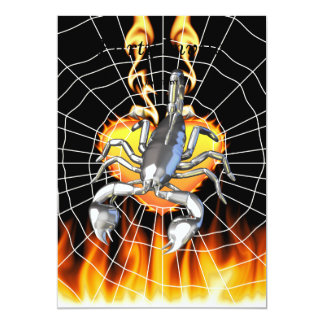 """Chromed scorpion design 2 with fire and web. 5"""" x 7"""" invitation card"""