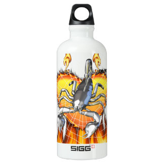 Chromed scorpion design 2 with fire and web. SIGG traveler 0.6L water bottle