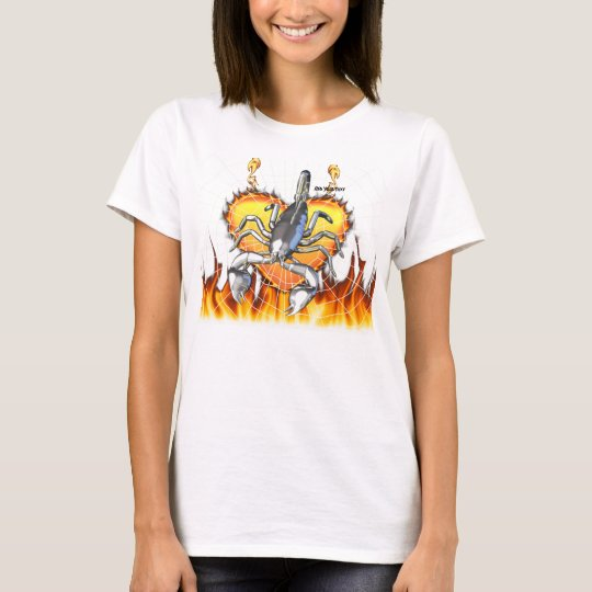 Chromed scorpion design 2 with fire and web. T-Shirt