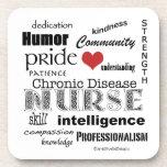 Chronic Disease Nurse Pride-Attributes+Heart Drink Coaster