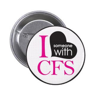 Chronic Fatigue Awareness (pink and black) Button