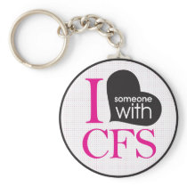 Chronic Fatigue Awareness (pink and black) Keychain