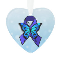 Chronic Fatigue Ribbon and Butterfly Christmas Ornament
