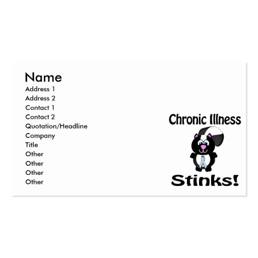Chronic Illness Stinks Skunk Awareness Design Double-Sided Standard Business Cards (Pack Of 100)