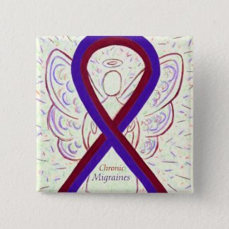 Chronic Migraines Awareness Ribbon Angel Buttons