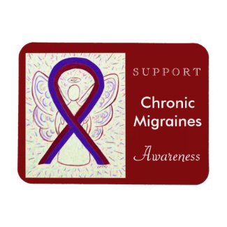 Chronic Migraines Awareness Ribbon Angel Magnets
