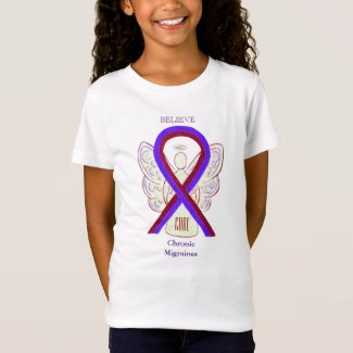 Chronic Migraines Awareness Ribbon Angel Shirts