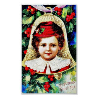 Chrsitmas greeting with a child photo in the bell poster