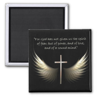 Chrstian Cross with Holy Spirit and Bible Verses 2 Inch Square Magnet
