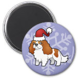 Chrstmas Cavalier King Charles Spaniel 2 Inch Round Magnet
