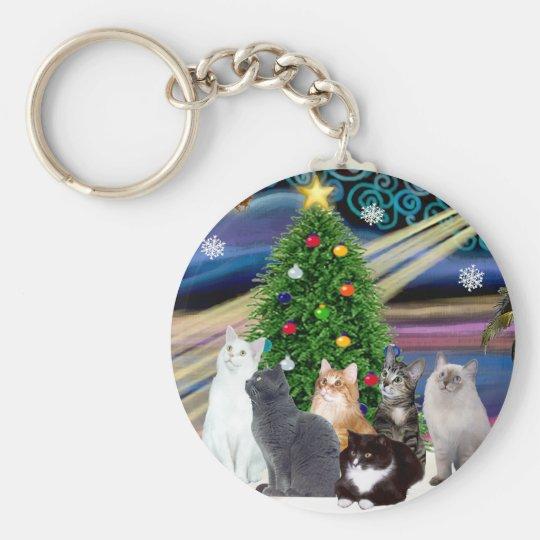 Chrstmas Magic - Six cats (variety) Keychain