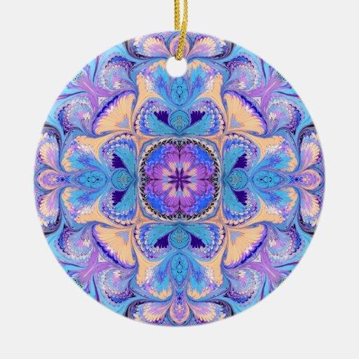 Chrstmas Ornament Blue Purple Kaleidoscope Flower