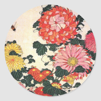 Chrysanthemum and horse-fly, Katsushika Hokusai Classic Round Sticker