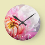 Chrysanthemum and Moon Round Clock