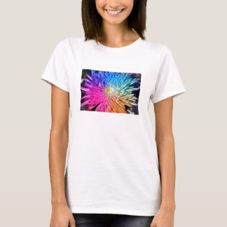 Chrysanthemum Artificial Colour Fitted Tee Shirt