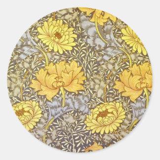 chrysanthemum by William Morris Classic Round Sticker