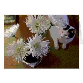 chrysanthemum cat happiness note card