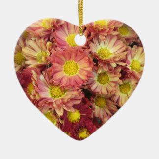 Chrysanthemum Cluster Garden Yellow Pink Ceramic Ornament