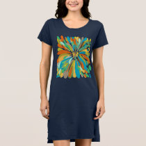 Chrysanthemum Cute Colorful Blue Green Orange Dress