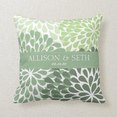 Chrysanthemum (Fair Green) Wedding Shower Gift Throw Pillow
