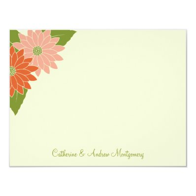 Chrysanthemum Flat Thank You Card - Pink/Orange