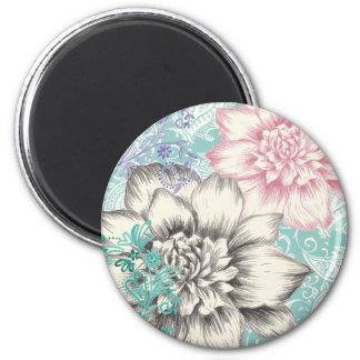 chrysanthemum floral design 2 inch round magnet