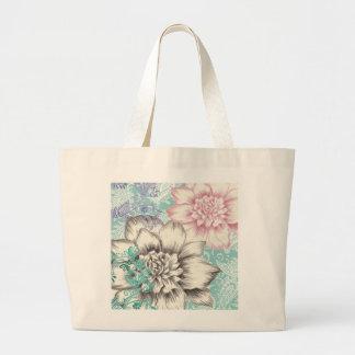 chrysanthemum floral design large tote bag