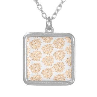 Chrysanthemum Floral Pattern Square Pendant Necklace