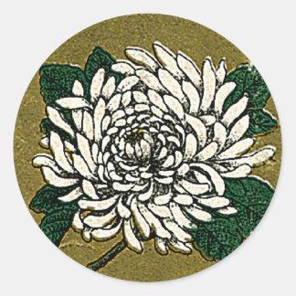 Chrysanthemum Flower Vintage Japanese Silk Label Classic Round Sticker