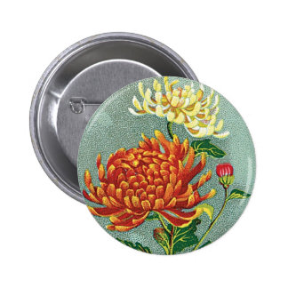 Chrysanthemum Flower Vintage Japanese Silk Label Pinback Button