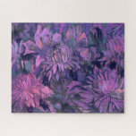 Chrysanthemum Flowers Abstract Floral Art Violet Jigsaw Puzzle