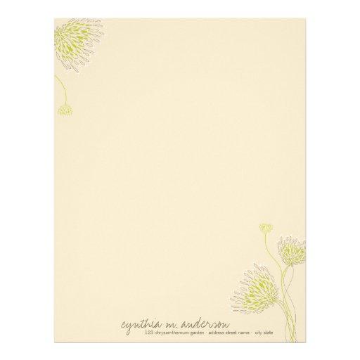 Chrysanthemum Flowers Floral Elegant Chic Business Customized Letterhead