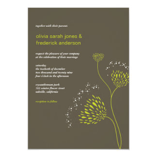 Chrysanthemum Flowers Floral Elegant Chic Wedding 5x7 Paper Invitation Card