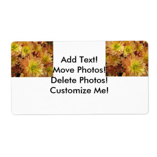 Chrysanthemum Group Plant Yellow Red Custom Shipping Labels