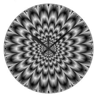 Chrysanthemum in Black and White  Wall Clock