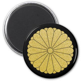 Chrysanthemum Mon (black & gold) Fridge Magnet