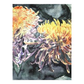 Chrysanthemum mum flowers watercolor painting flyer